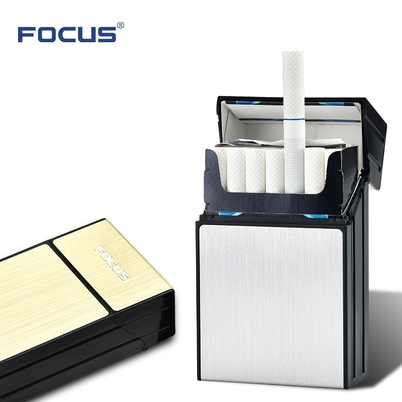FOCUS Ultra thin Cigarette Case damp proof holder 20pcs Cigarette Slim ABS Plastic Cigaret Box Smoker GiftS for Men Fashion Pipe