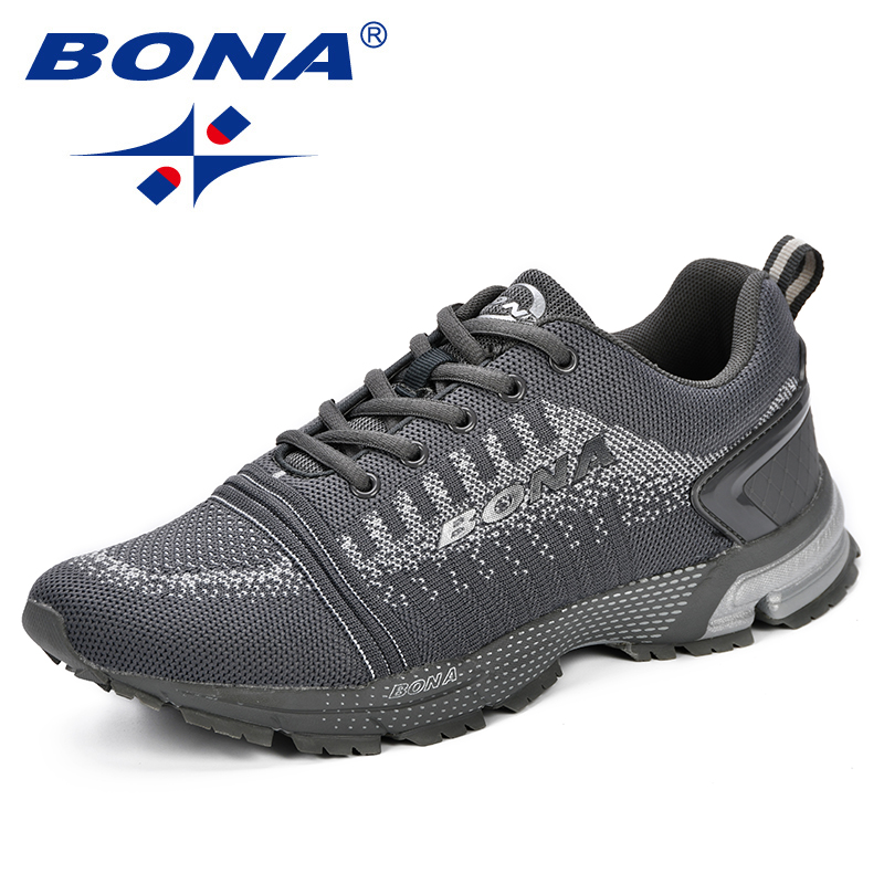 BONA Men Sneakers Male Sports Running Shoes Walking Shoes Lightweight Jogging Shoe Breathable Zapatos Fly-Knit Upper Breathable