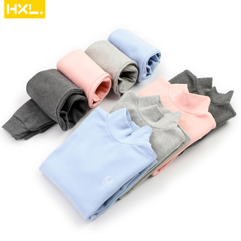 2019Winter Kids Thermal Underwear Solid Thick Cotton High Collar Children's Warm Suit Clothes Baby Boys Girls Long Johns Pajamas