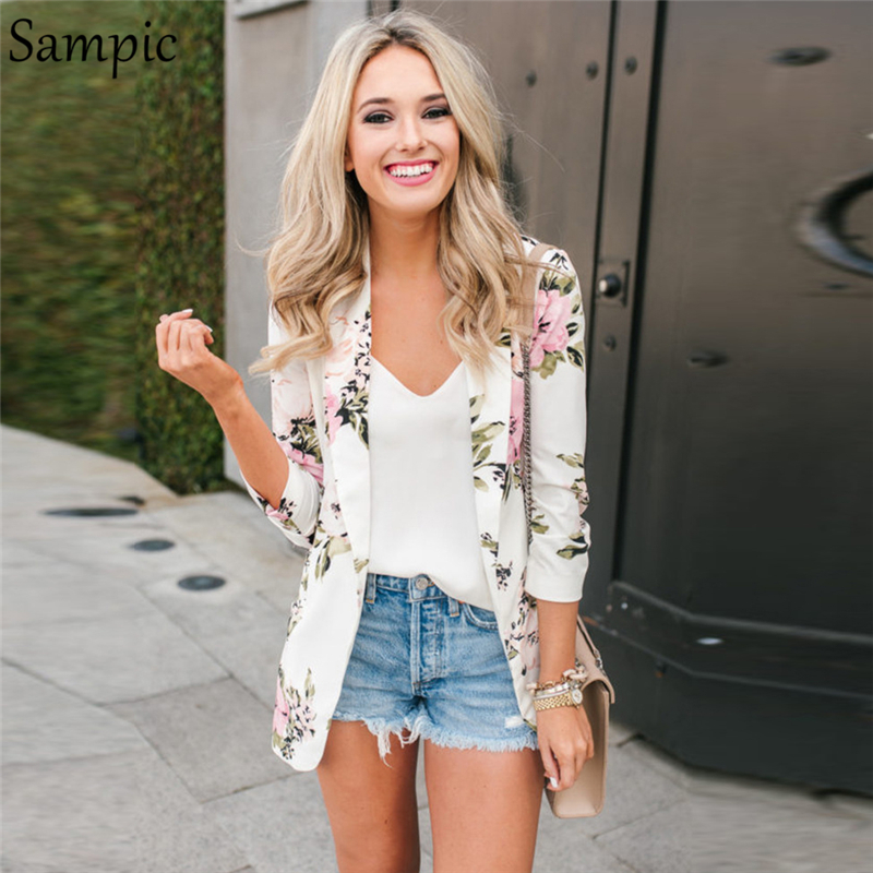Sampic Women Office Pocket White Print Long Sleeve Blazer Elegant Ladies Party Floral Blazer Coat Summer 2019