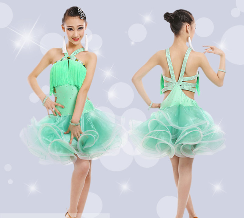 Girl Latin Dance Rumba Samba Clothing Girls Salsa Dresses Girls Stage Wear Costumes Kid's Ballroom Dressing Chinese Folk Dancing