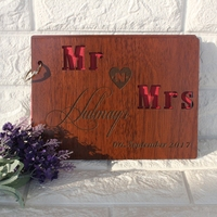 Free shipping 1pcs Personalized Solid wood custom name time laser classmates Memoirs album Creative Wedding signature guest book