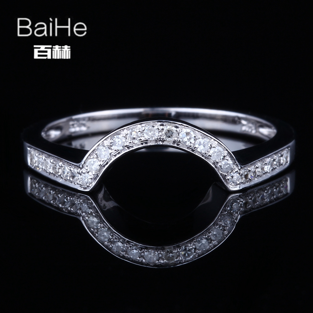 BAIHE Sterling Silver 925 0.15CT Certified H/SI Round 100% Genuine Natural Diamonds Party Women Office/career Fine Jewelry RingBAIHE Sterling Silver 925 0.15CT Certified H/SI Round 100% Genuine Natural Diamonds Party Women Office/career Fine Jewelry Ring