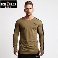 New Autumn New Men Long Sleeved T Shirt Cotton Raglan Sleeve Gyms Fitness Workout Clothing Male