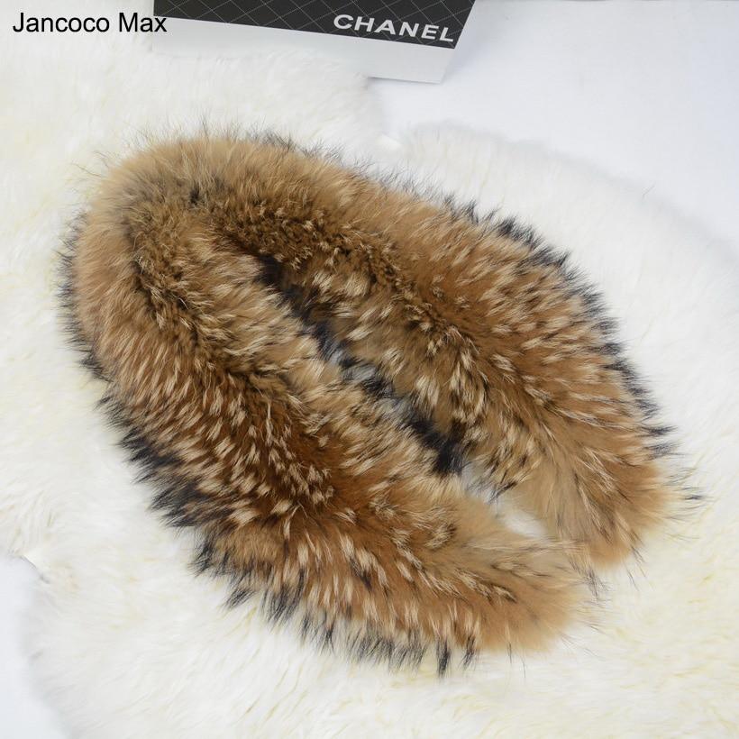 Jancoco Max 75cm 80 90 100 110cm Real Raccoon Fur Collar For Women Men Jacket Fashion