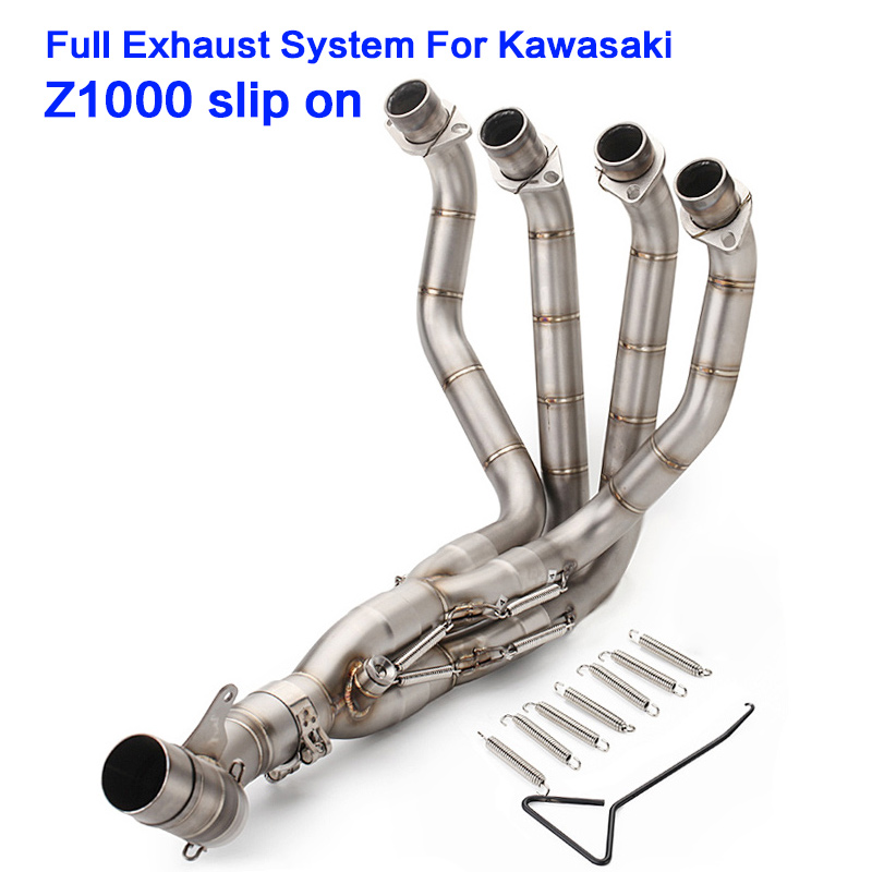 цена z1000 exhaust muffler Full System front link pipe 2010-2017 motorcycle exhaust motorbike middle link pipe for kawasaki Z1000 онлайн в 2017 году