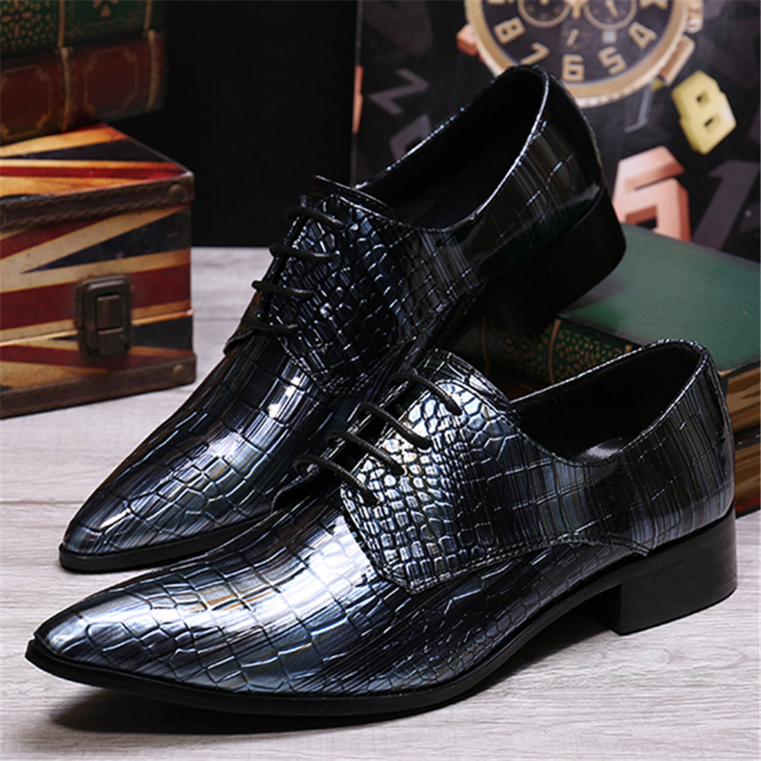 Fashion Luxury Men Pointed Toe Leather Shoes Business Oxfords Wedding Dress Shoe Chaussure Homme Mens Creepers men fashion oxfords pointed toe retro