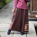 The New National Wind Cotton Elastic Waist Wide Leg Pants Big Yards Pants Culottes Patchwork Winding Fat