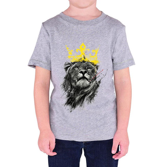 559c0cb2c New Arrival T-shirts For Boys 2018 Summer Hot Sale Cotton T-shirt For Girl  King Of Lion Print Cool Streetwear Shirt For Boy Kids