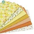 7 pcs amarelo 100% mantas de algodão sacos de tecido para diy costura retalhos miúdos cama tilda boneca de pano têxtil tecido 50*50 centímetros