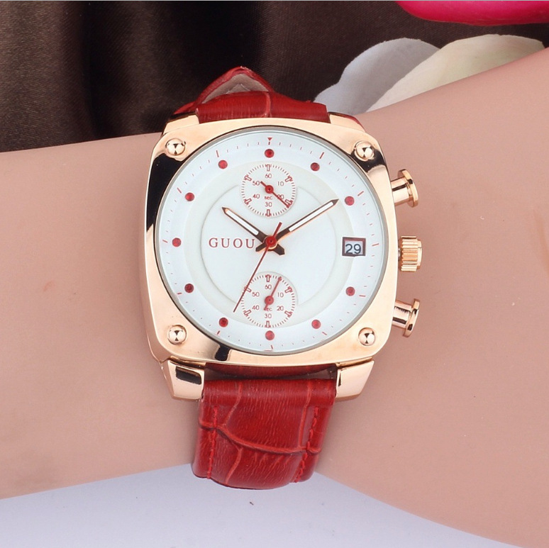 2017 Fashion Brand GUOU Clock Ladies Full Luxury Rose Gold Leather Square Dial Quartz Woman Calendar Dress Watches Relojes mujer relogio feminino guou quartz fashion watch women luxury brand leather rose gold rectangular dial watches ladies relojes mujer