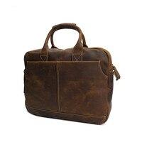 Для мужчин Сумки Crazy Horse кожа Брендовые мужские Crossbody 17 ноутбук сумки Винтаж большой мужской Портфели Для мужчин Путешествия сумка