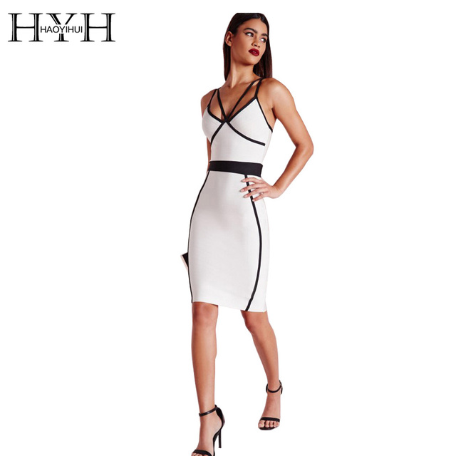 5099f60e442 HYH HAOYIHUI Women Dress Sleeveless Backless Mini Dress Sexy Deep V Neck  Dress White Color Block