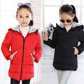 Size120~160 Children's  Outerwear Kids Child Jackets For Girls Warm Winter Hooded Jacket Coats candy solid