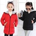 Size120 ~ 160 das Crianças Outerwear Crianças Casacos de Criança Para Meninas Inverno Quente Jaqueta Com Capuz Casacos doces sólida