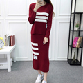 Women Fashion Knitted Sets Lady Lovely Sweater Skirt Twinset High Quality Girl 2 PCS Detachable Suit Gray/Red M Medium Size