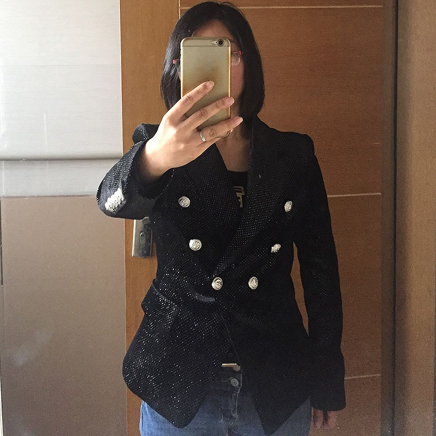 2019 Summer Women  Double Breasted Office Jacket Fashion Buttons Glitter Black Blazers