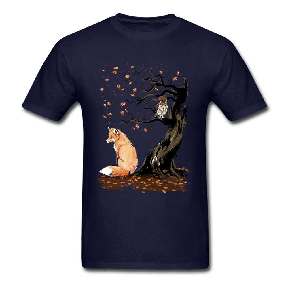 Winds Of Autumn Tee Shirt Art Design T-shirt Men Tshirts Owl & Fox Print Tops Tees Birthday Gift Clothes Custom Cotton Sweaters