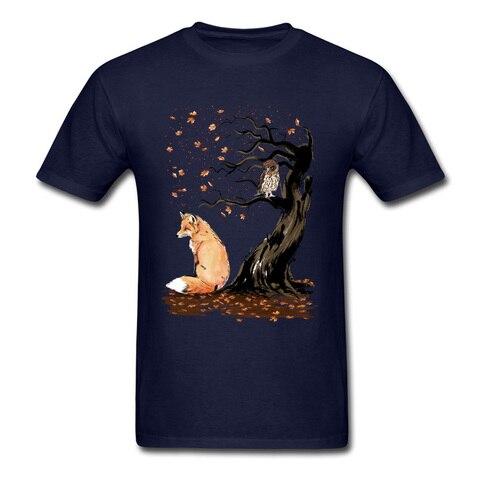 Winds Of Autumn Tee Shirt Art Design T-shirt Men Tshirts Owl & Fox Print Tops Tees Birthday Gift Clothes Custom Cotton Sweaters Pakistan