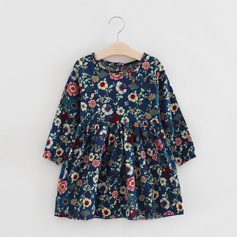 Children Girl Cute Flowers Print Long Sleeve Pleated Dress Princess Clothes sun flower print pleated dress