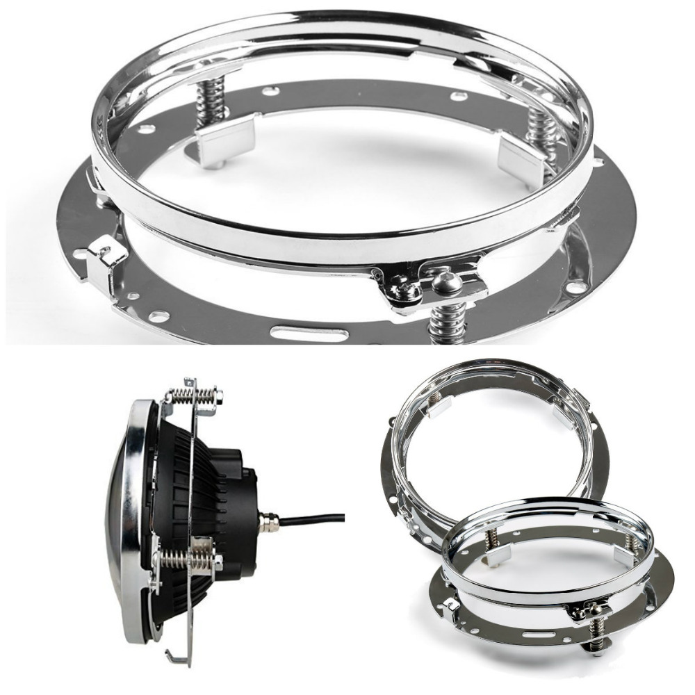 7Inch Round Mounting Bracket Ring, 7inch Visor Style Trim Ring For 7Inch LED Headlight FLD Touring Softail Road King Fat Boy