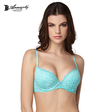 Annajolly Push Up Bras Women Elegant Embroidery Lace Brassiere Blue White Red Green Brand New Lingerie Underwear Fashion 8452B