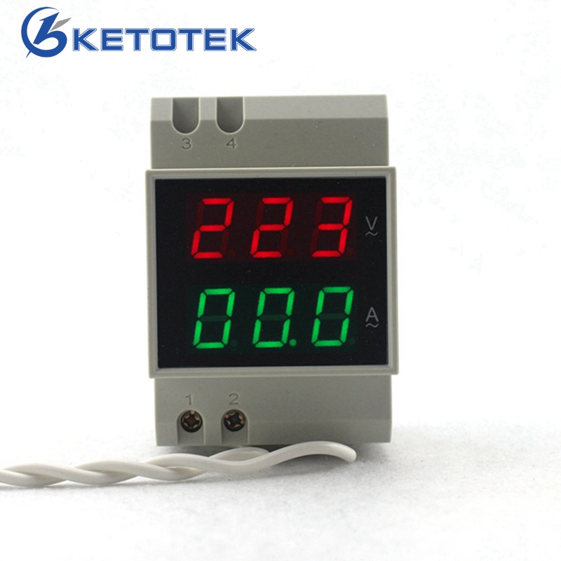 DIN RAIL AC 80-300V AC 200-450V AC 0.1-99.9A Dual led Digital Voltmeter Ammeter AC Voltage Current Meter Monitor цена
