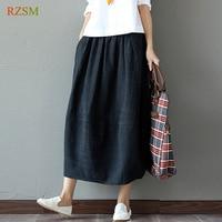 Spring Autumn Large Size New Elegant Loose Art Cotton Linen Long Bud Skirt Women Solid Color