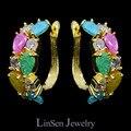 Новые красивые цветные цирконовые серьги Мона Лиза из многоцветных кристаллов, высокое качество AAA CZ блиллиант, серьги с покрытием из настоящего золота / платины