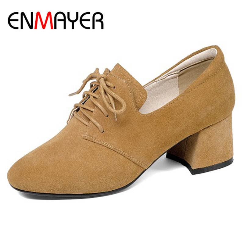 ENMAYER Cross-tied Shoes Woman Pumps in Womens Shoes Lace-up Shoes Big Size 34-41 Round Toe Office Ladies Shoe High Heels Pumps цена 2017