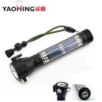 4000LM Recarregável Luzes Da Tocha De Emergência Multifuncional Banco de Potência USB Diodo Emissor de Luz Solar Lanterna Com Martelo De Segurança Bússola Ímã
