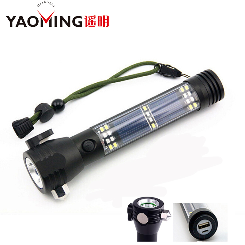 4000LM Rechargeable Multifunction Emergency Torch Lights USB Power Bank Led Solar Flashlight With Safety Hammer Compass Magnet outdoor camping emergency light solar powered led flashlight self defense glare flashlight hammer torch light with power bank