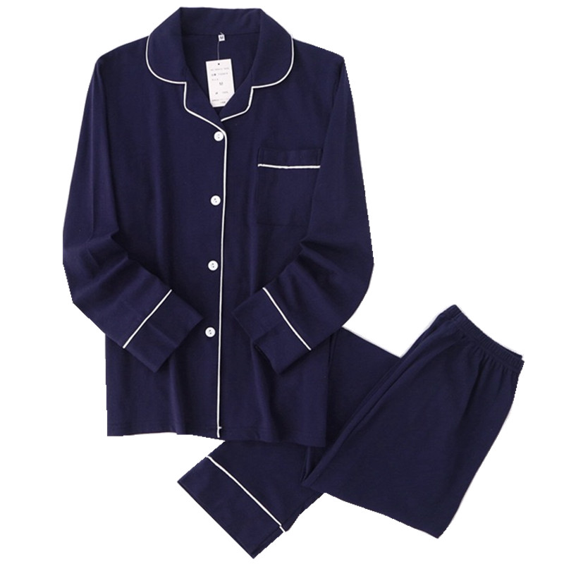 Casual Couple Solid 100% Cotton Pajamas Sets Men Autumn Pijamas Long-sleeve Sleepwear Men Pijamas Japanese Pyjamas For Male