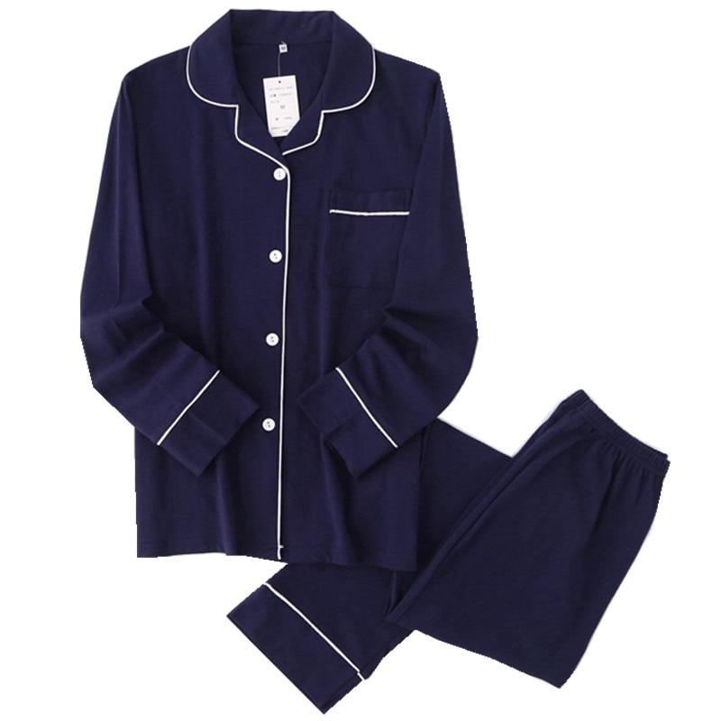 Casual couple Solid 100% cotton pajamas sets men autumn pijamas long sleeve sleepwear men pijamas Japanese pyjamas for male-in Men's Pajama Sets from Underwear & Sleepwears