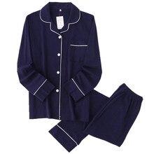 Pijama informal de algodón de 100% liso para hombre, ropa de dormir de manga larga para otoño, pijama japonés