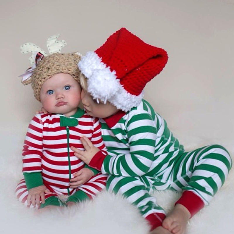 Christmas Newborn Baby Boy Girl Striped Long Romper Jumpsuit Outfit Cute Clothes pudcoco 2Pcs Baby Boys Girl Xmas striped romper