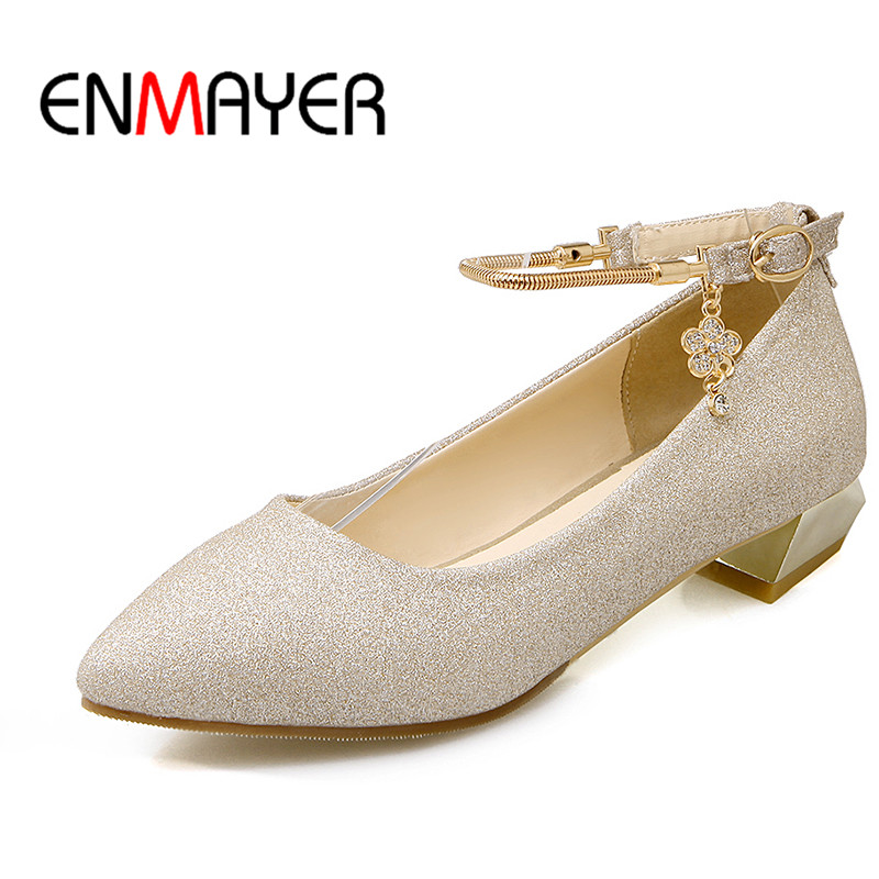 ENMAYER Buckle Strap Shallow Pumps Shoes Woman Low Heels Pointed Toe Spring&Antumn Square Heel Plus Size 34-43 Party Dress Shoes автомобильный dvd плеер joyous kd 7 800 480 2 din 4 4 gps navi toyota rav4 4 4 dvd dual core rds wifi 3g