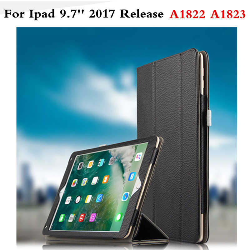 Case for iPad 9.7 inch 2017 NEW model Premium Genuine Leather Business Folio Stand Book Cover for iPad 2017 9.7'' A1823 A1822 back shell for new ipad 9 7 2017 genuine leather cover case for new ipad 9 7 inch a1822 a1823 ultra thin slim case protector