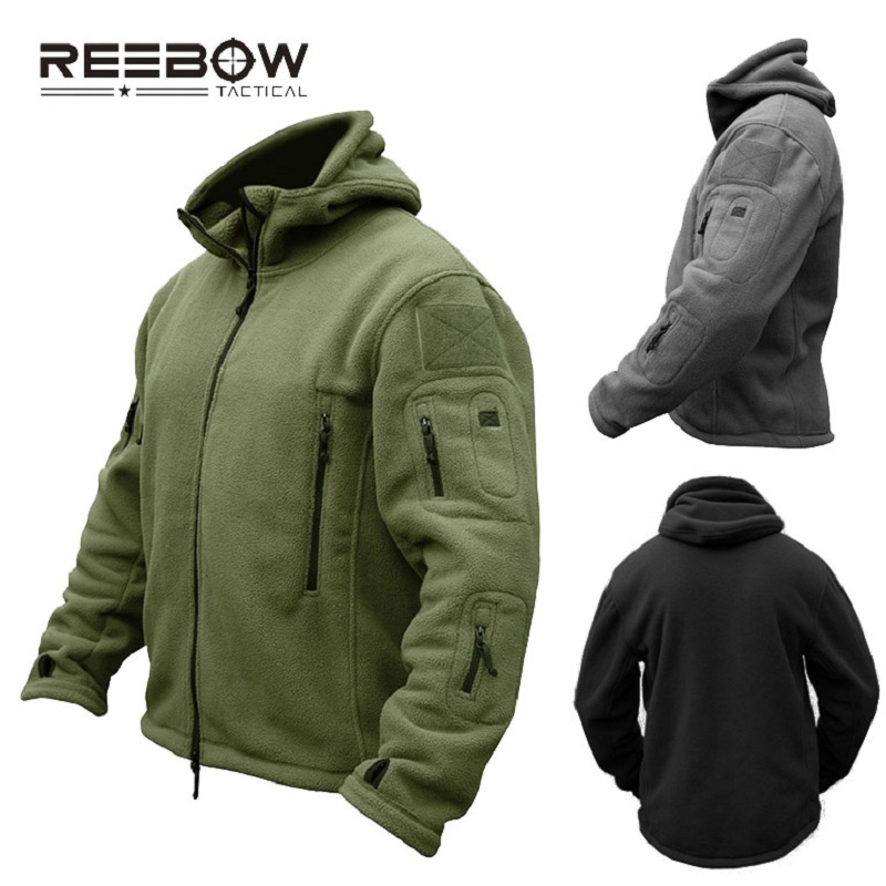 REEBOW TACTICAL Men Outdoor Fleece Tactical Hooded Jacket Hiking Camping Winter Thermal Breathable US Army Military Outwears rax 2015 thermal fleece hiking pants for men women winter outdoor sports warm fleece trousers fleece camping pants 54 4f089