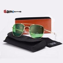 Óculos de sol tipo aviador, óculos de sol AO masculino tipo aviador militar, com vidro óptico nas lentes