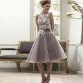 Modest Short Bridesmaid Dresses 2017 Vintage Tea Length Lace Tea Length Bridesmaid Dress Wedding Party Dresses BN101