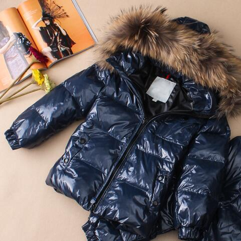 Fashion 2013 children's clothing down coat baby child male female child short design large fur collar