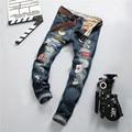 European American Style fashion brand cotton men jeans luxury Men's casual denim trousers hole zipper Slim blue jeans for men