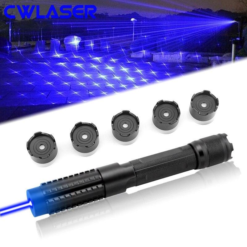 CWLASER Puissant 1000000 m 5-en-1 450nm Focalisables Laser Bleu Pointeur Militaire Burning Laser Avec Des Lunettes de Sécurité et De Luxe Cas