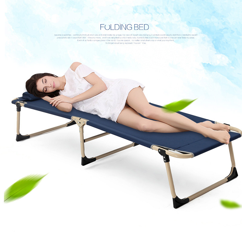 Multifunctional Sun Loungers Office Household Leisure Folding Chair Noon Break Single Bed Balcony Beach Chairs - 6