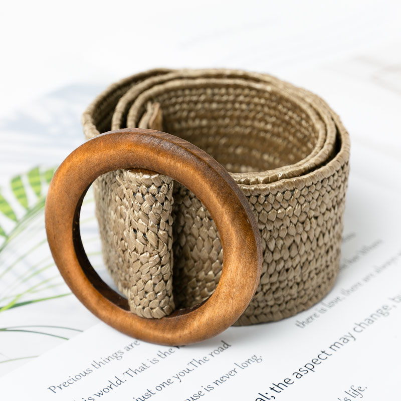 Conmoto Wooden Button Belt For Women Elastic Straw Belt Decoration For Dress Belt Casual Female Belt Accessories(China)