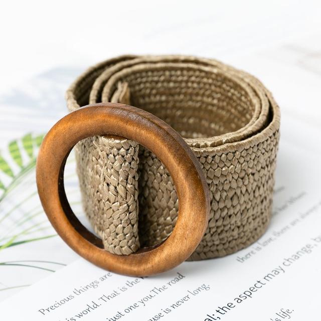 Conmoto Wooden Button Belt For Women Elastic Straw Belt Decoration for Dress Belt Casual Female Belt Accessories