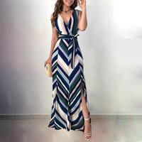 Chevron striped wrap dress Women backless high slit bohemian dress Summer stripes long dresses Elegant chiffon party vestidos