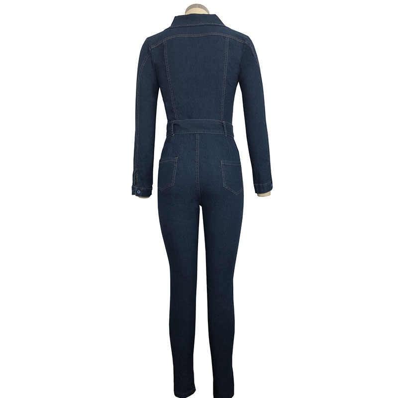 2019 джинсовые комбинезон женщин с длинными рукавами спереди на молнии джинсы женский комбинезон с поясом Плюс Размер пояс Одежда Комбинезоны