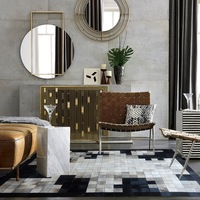 European style black and white gray natural cowhide rug soft leather cowhide geometric pattern stitch handmade leather carpet